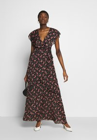 Missguided - FLORAL PLUNGE WRAP RUFFLE HIGH LOW DRESS - Robe longue - black - 1