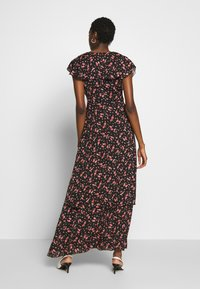 Missguided - FLORAL PLUNGE WRAP RUFFLE HIGH LOW DRESS - Robe longue - black - 2
