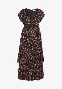Missguided - FLORAL PLUNGE WRAP RUFFLE HIGH LOW DRESS - Robe longue - black - 6