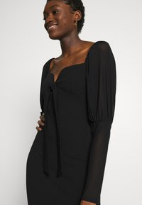 Missguided - PUFF SLEEVE BOW MIDI DRESS - Shift dress - black - 3