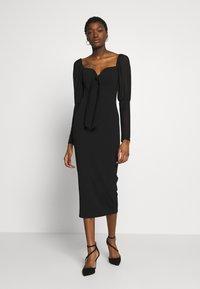 Missguided - PUFF SLEEVE BOW MIDI DRESS - Shift dress - black - 0
