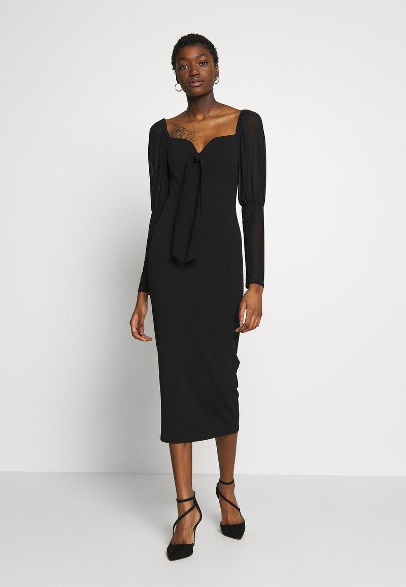 Missguided - PUFF SLEEVE BOW MIDI DRESS - Shift dress - black