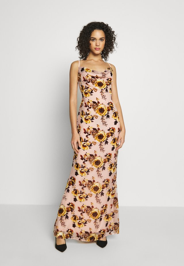 BRIDESMAID DEVORÉ FLORAL COWL NECK MAXI DRESS - Maxi-jurk - pink