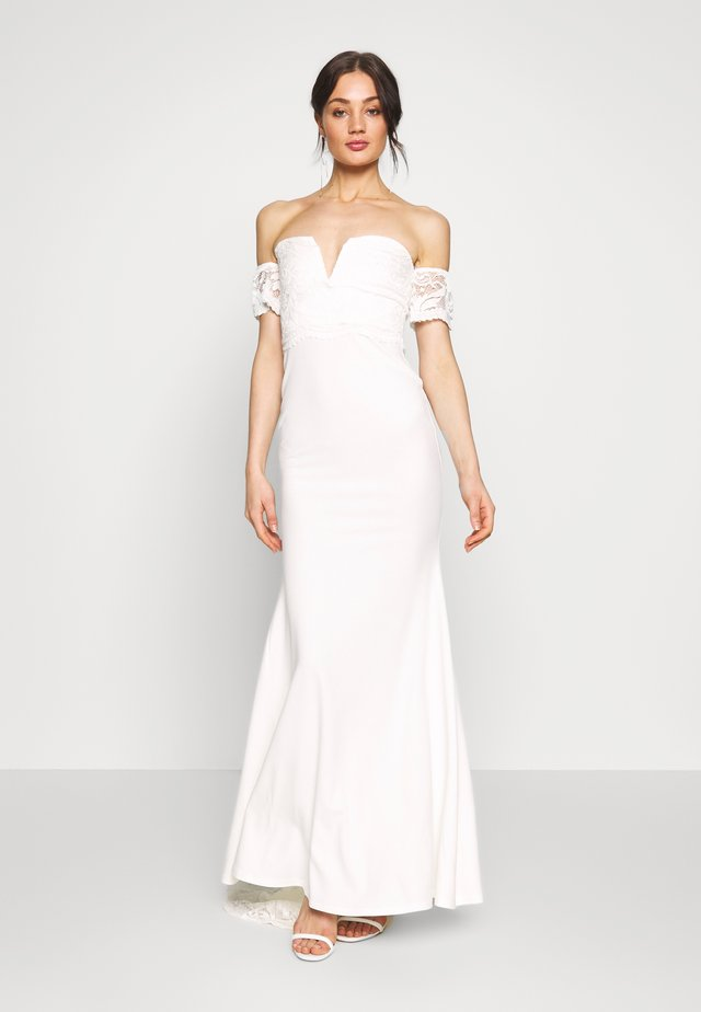 BRIDAL LACE  PLUNGE FISHTAIL MAXI DRESS - Occasion wear - ivory