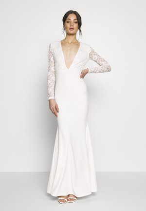 BRIDAL PLUNGE LONG SLEEVED MAXI DRESS - Occasion wear - ivory