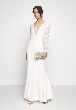 BRIDAL PLUNGE LONG SLEEVED MAXI DRESS - Galajurk - ivory