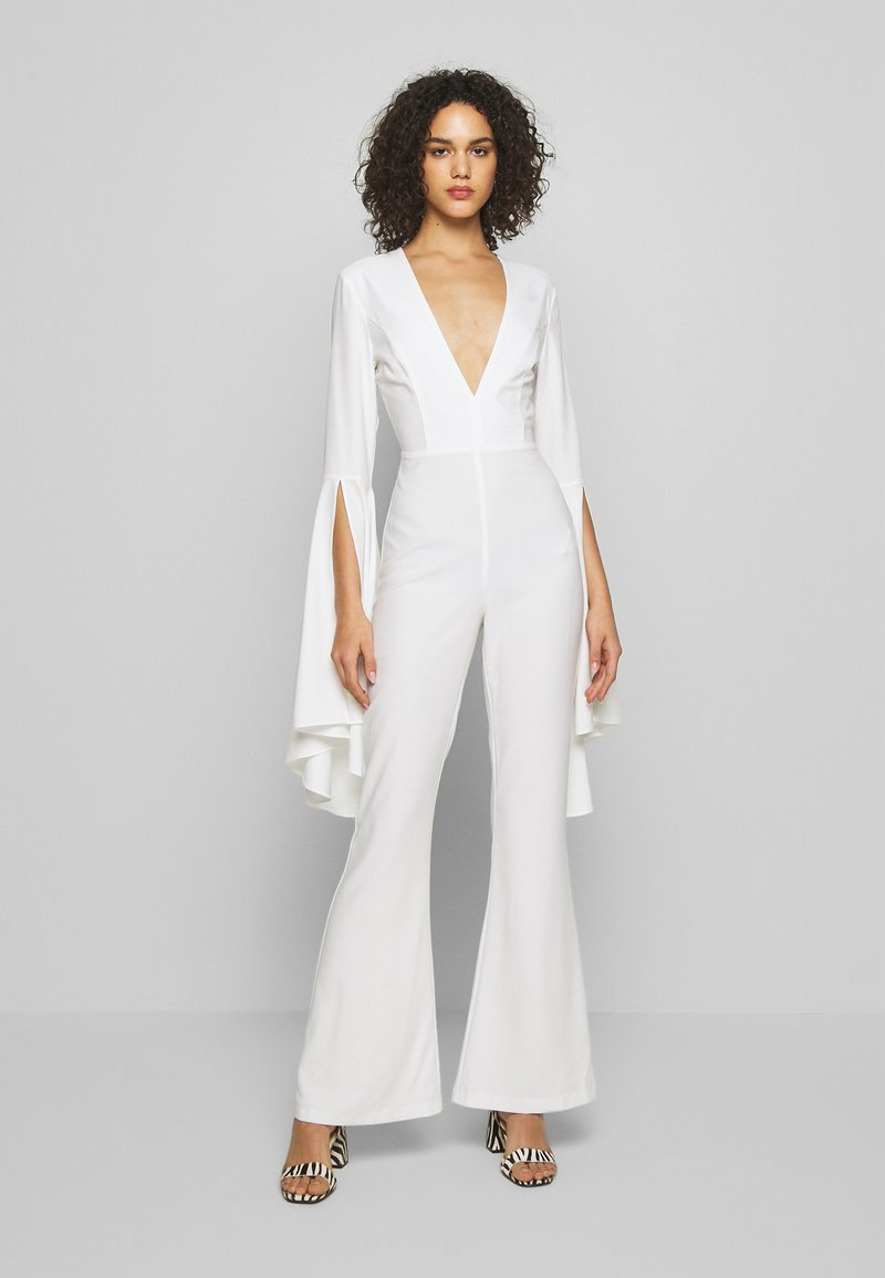 Missguided - PLUNGE FLARE SLEEVE  - Tuta jumpsuit - white
