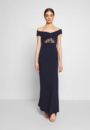 BRIDESMAID LACE INSERT BARDOT GOWN - Galajurk - navy