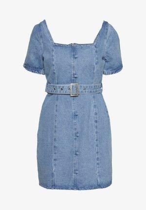 SELF BELTED PUFF SLEEVE MINI DRESS - Jeanskleid - light wash