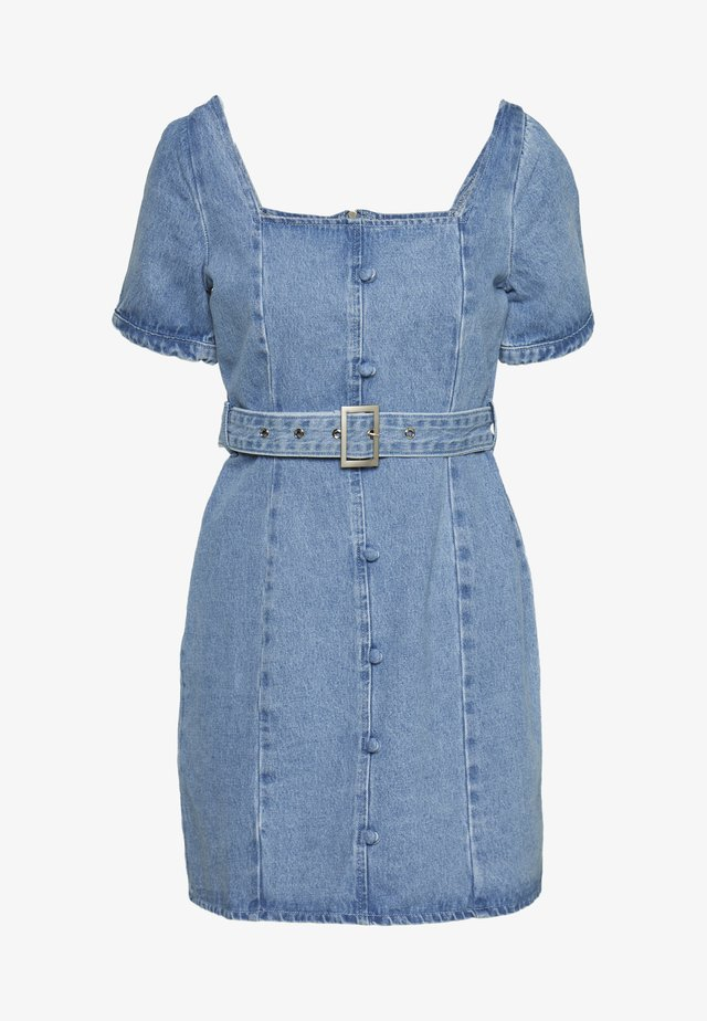 SELF BELTED PUFF SLEEVE MINI DRESS - Jeansklänning - light wash