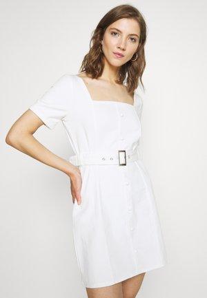 SELF BELTED PUFF SLEEVE MINI DRESS  - Denim dress - white