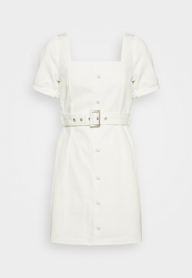 SELF BELTED PUFF SLEEVE MINI DRESS  - Robe en jean - white