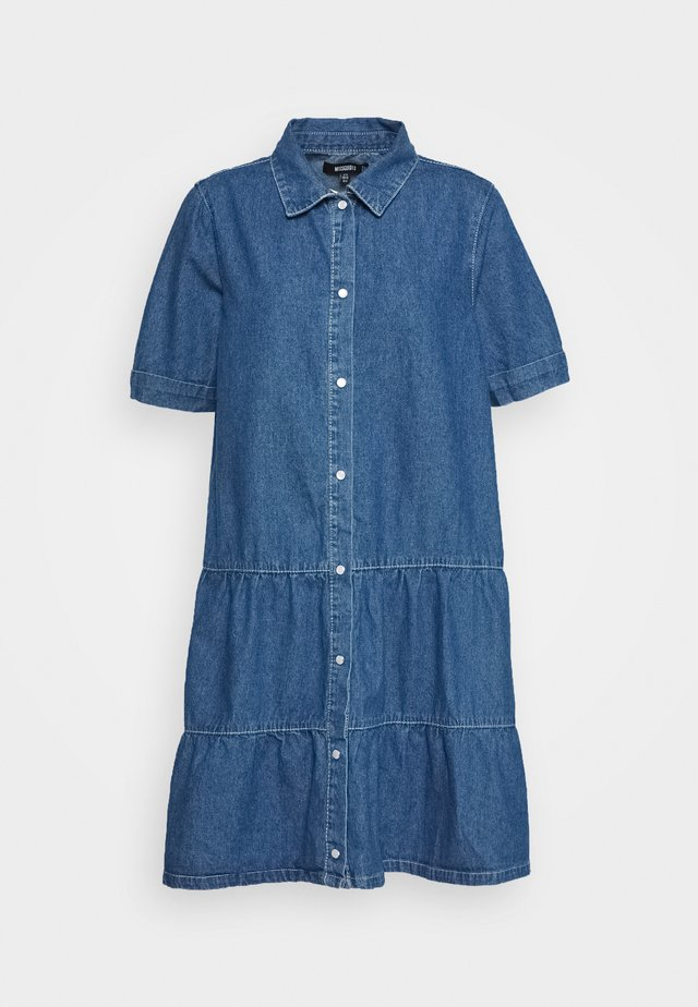 SHORT SLEEVE DRESS - Denimové šaty - mid blue