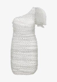 Missguided - POLKA DOT ONE SHOULDER RUCHED PUFF SLEEVE MINI DRESS - Vestido de cóctel - white - 3