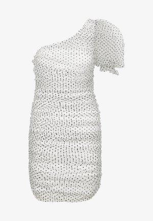 POLKA DOT ONE SHOULDER RUCHED PUFF SLEEVE MINI DRESS - Koktejlové šaty/ šaty na párty - white