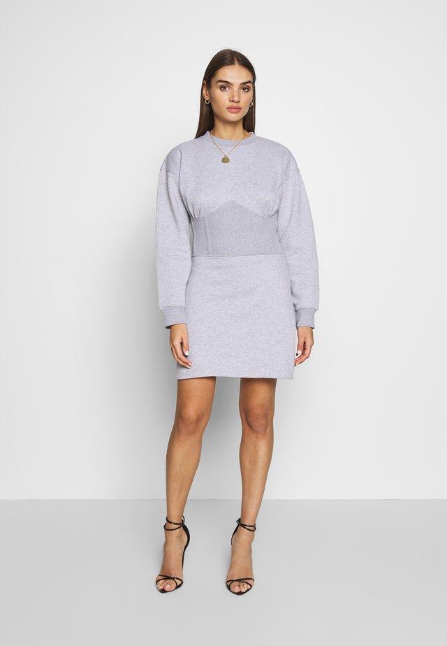 OVERSIZED CORSET DRESS - Day dress - grey marl