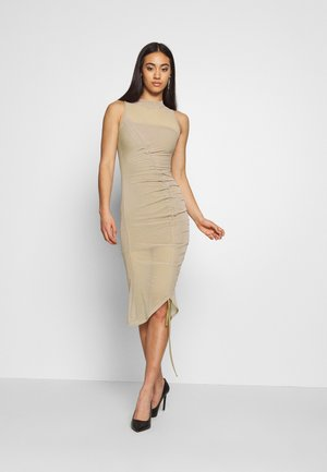 RUCHED MIDI DRESS - Etuikjole - mocha
