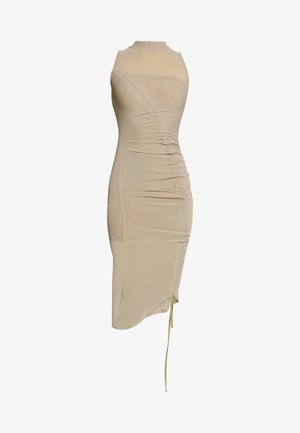 RUCHED MIDI DRESS - Vestido de tubo - mocha