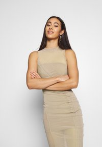 Missguided - RUCHED MIDI DRESS - Etuikjole - mocha - 3