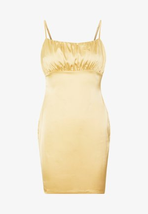 RUCHED BUST MIDI DRESS - Vestido de cóctel - pale yellow