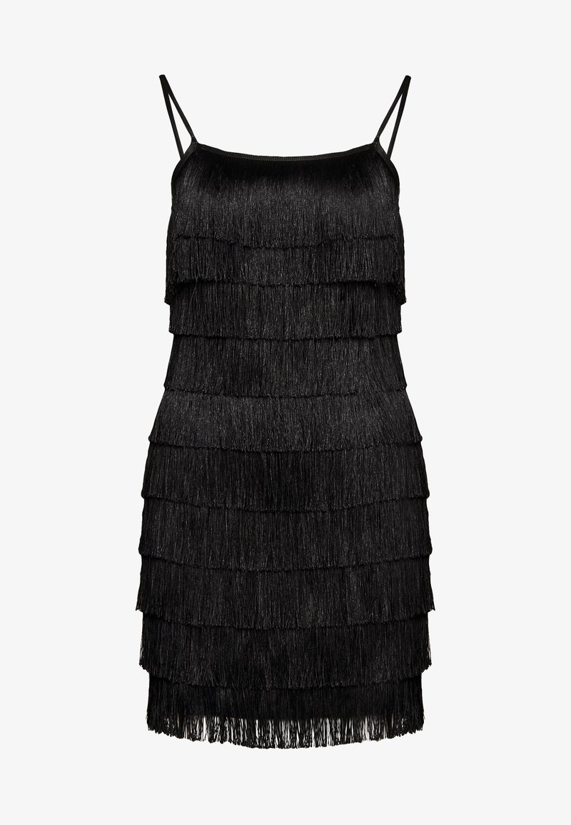 Missguided - FESTIVAL EXCLUSIVE TASSEL STRAPPY BACK MINI DRESS - Vestito elegante - black