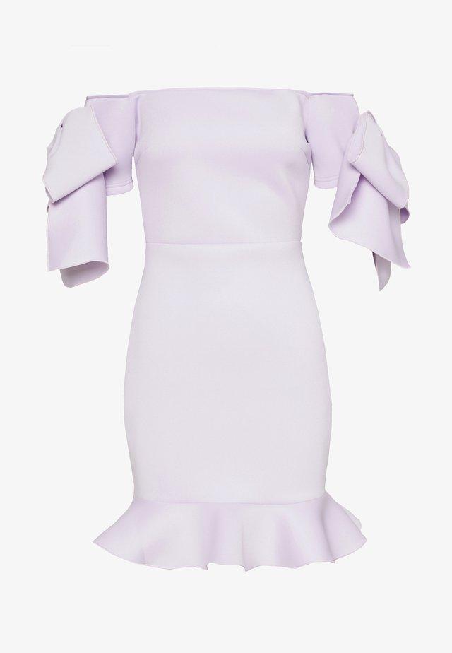 RUFFLE BOW BARDOT MINI DRESS - Korte jurk - lilac
