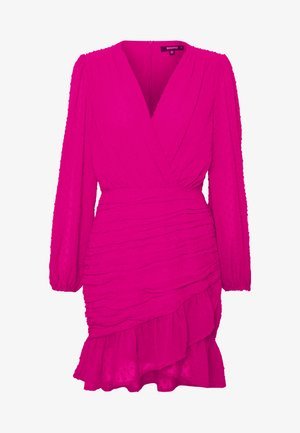 DOBBY RUCHED DETAIL FRILL MINI DRESS - Kjole - pink