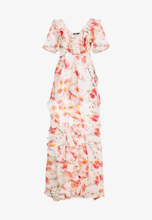 FLORAL RUFFLE HIGH LOW MAXI DRESS - Vestido de fiesta - pink