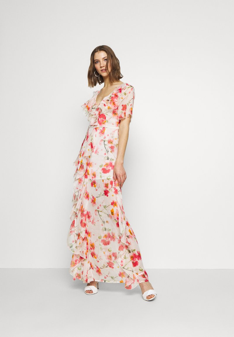 Missguided - FLORAL RUFFLE HIGH LOW MAXI DRESS - Iltapuku - pink