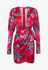 Missguided - FLORAL PRINT PLUNGE NECK PUFF WRAP MINI DRESS - Cocktailkjole - red - 4