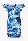FLORAL MILKMAID BODYCON MINI DRESS - Pouzdrové šaty - blue