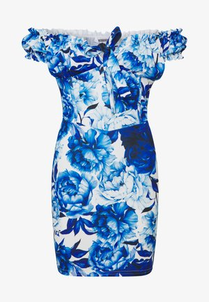 FLORAL MILKMAID BODYCON MINI DRESS - Vestido de tubo - blue