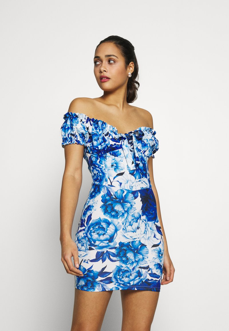 Missguided - FLORAL MILKMAID BODYCON MINI DRESS - Etuikjole - blue