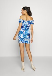 Missguided - FLORAL MILKMAID BODYCON MINI DRESS - Etuikjole - blue - 3
