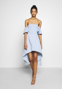 Missguided - BARDOT HIGH LOW MIDI DRESS - Vestido de cóctel - powder blue - 1