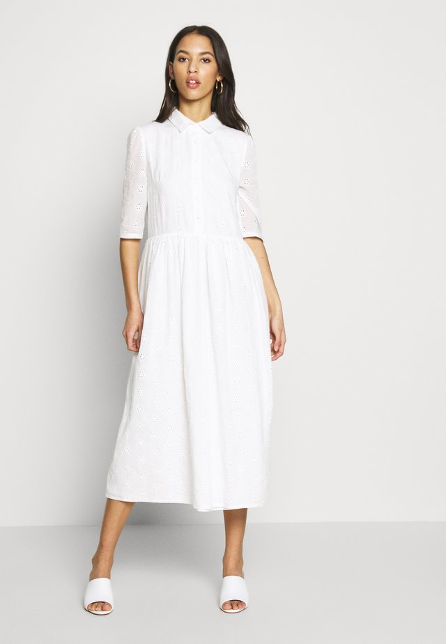 SMOCK SHIRT MIDI DRESS - Shirt dress - white