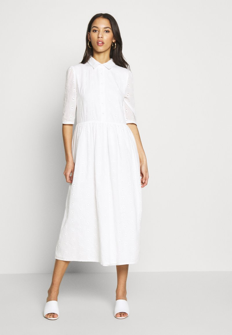 Missguided - SMOCK SHIRT MIDI DRESS - Skjortekjole - white