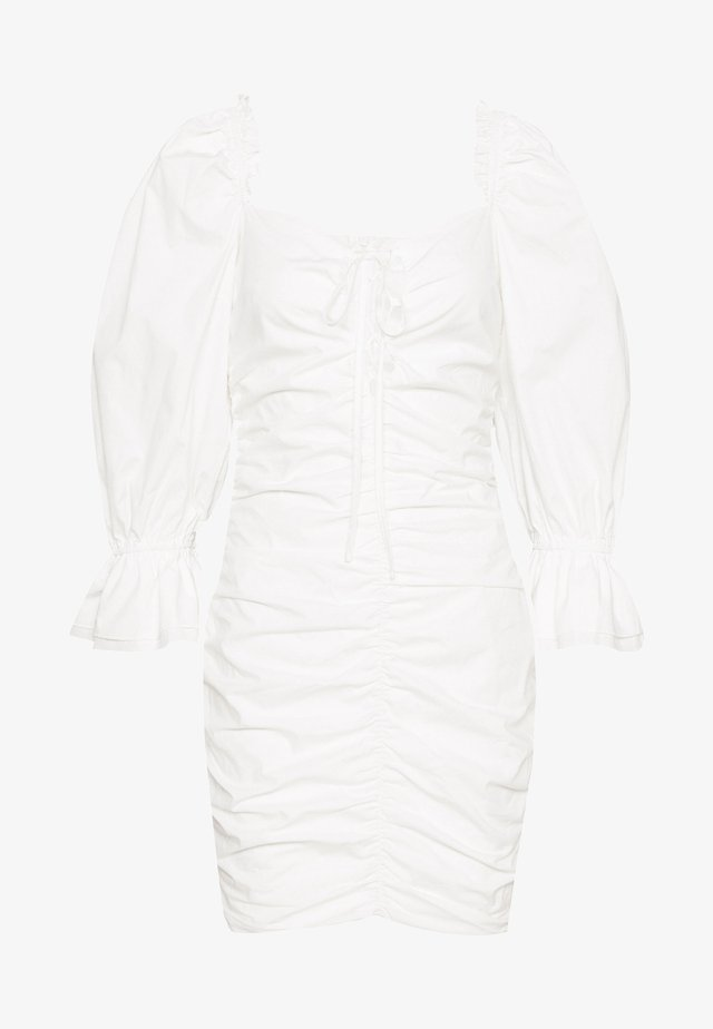 POPLIN UP FRONT PUFF RUCHED MINI DRESS - Korte jurk - white