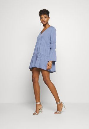 V NECK TIERED MINI DRESS - Vestito estivo - blue