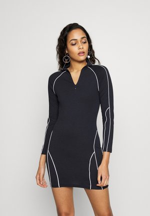 CODE CREATE REFLECTIVE PIPING BODYCON MINI DRESS - Vestido ligero - navy
