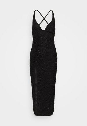 SEQUIN RUCHED STRAPPY CAMI MIDI DRESS - Vestito elegante - black