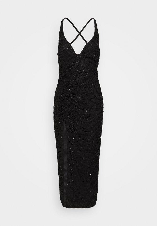 SEQUIN RUCHED STRAPPY CAMI MIDI DRESS - Cocktailkleid/festliches Kleid - black