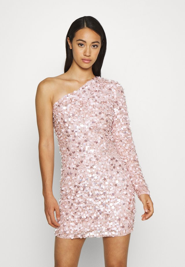 FRINGE EMBELLISHED ONE SHOULDER MINI - Cocktail dress / Party dress - pink
