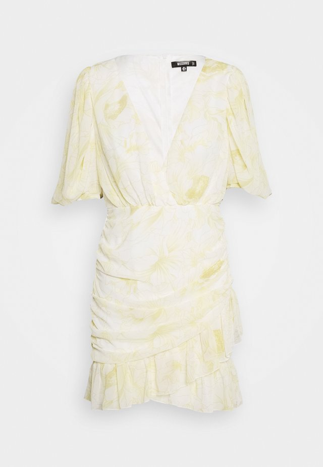 RUCHED RUFFLE MINI DRESS - Sukienka letnia - yellow