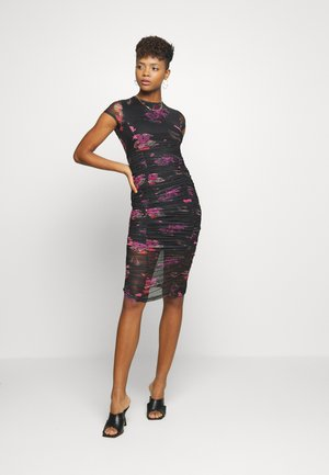 ORIENTAL PRINT MIDI DRESS - Etuikjole - black