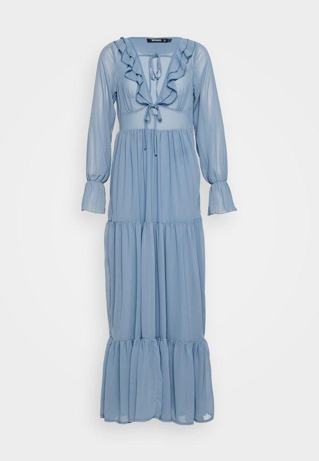 RUFFLE TIERED LONG SLEEVE DRESS - Maxi dress - blue