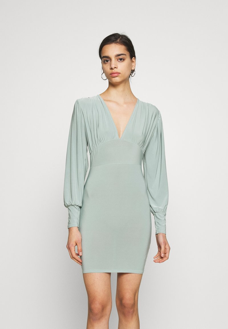 Missguided - SLINKY PLUNGE MINI BODYCON DRESS - Robe fourreau - mint