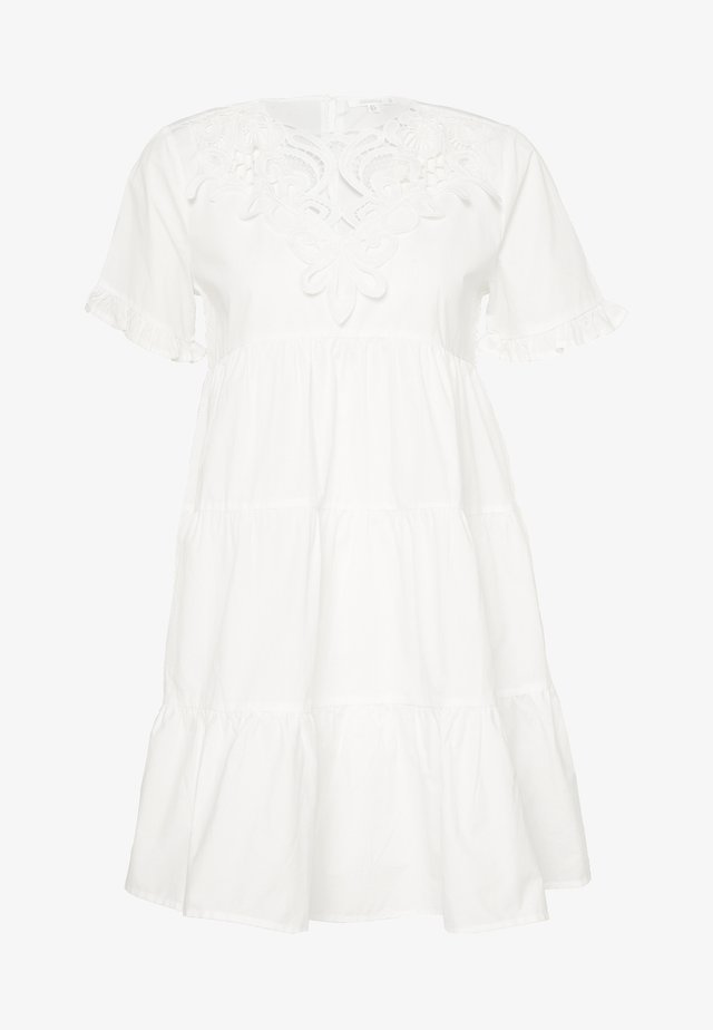 POPLIN CROCHET SMOCK DRESS - Cocktailjurk - white