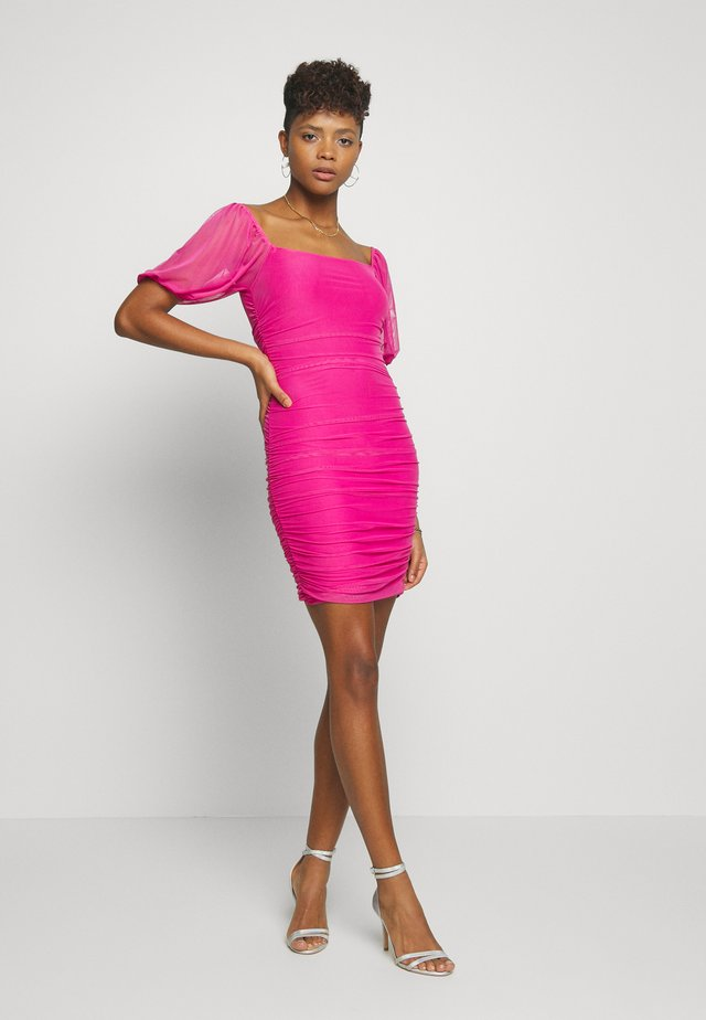 SQUARE NECK PUFF SLEEVE MINI DRESS - Vestito estivo - pink