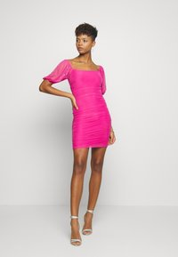 Missguided - SQUARE NECK PUFF SLEEVE MINI DRESS - Day dress - pink - 1